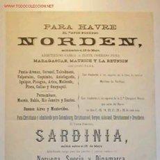 Líneas de navegación: CARTELITO-ITINERARIO DE LOS VAPORES NORUEGONORDEN Y SARDIANA Y EL VAPOR FINLANDES POLLUX. Lote 11261992