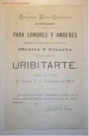 AVISO DE LA COMP. VASCO-CANTÁBICA DE NAVEGACION QUE EL V. ESPAÑOL URIBITARTER SALDRÁ DE CADIZ....... (Coleccionismo - Líneas de Navegación)