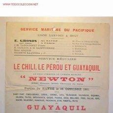 Líneas de navegación: CARTELITO-ITINERARIO DEL SERVICIO MARITIMO DEL PACIFICO,ESCRITO EN FRANCES,14 DE OCTUBRE 1901 . Lote 8469722