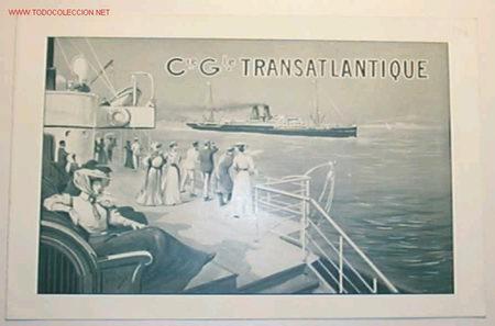 ITINERARIO DE LA COMPAÑIA GENERAL TRASATLANTIQUE,ESCRITO EN FRANCES. (Coleccionismo - Líneas de Navegación)