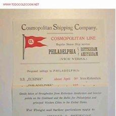 Líneas de navegación: HOJA DE INFORMACION DE ITINERARIO DE COSMOPOLITAN LINE,1908. Lote 9000438