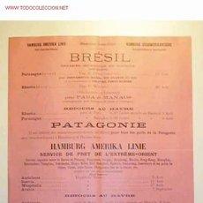 Líneas de navegación: ITINERARIO DE HAMBURG AMERIKA LINIE,JULIO,AGOSTO Y SEPTIEMBRE DE 1910. Lote 11261952