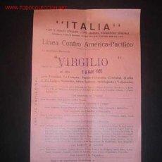 Líneas de navegación: CARTELITO DE LINEA CENTRO AMERICA-PACIFICO.LA MOTONAVE VIRGILIO SALDRA DE CADIZ 18/03/1935. Lote 11261933