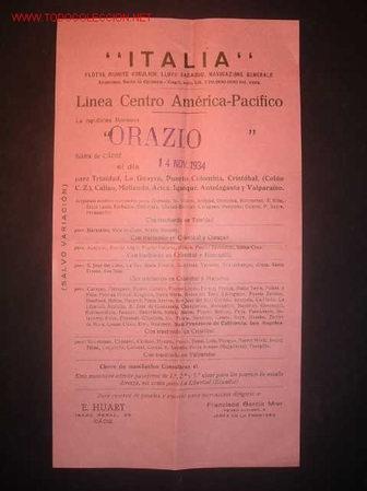 CARTELITO DE LINEA CENTRO AMERICA-PACIFICO.LA MOTONAVE ORAZIO, SALDRA DE CADIZ 14/11/1934 (Coleccionismo - Líneas de Navegación)