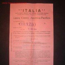 Líneas de navegación: CARTELITO DE LINEA CENTRO AMERICA-PACIFICO.LA MOTONAVE ORAZIO, SALDRA DE CADIZ 14/11/1934. Lote 11261950