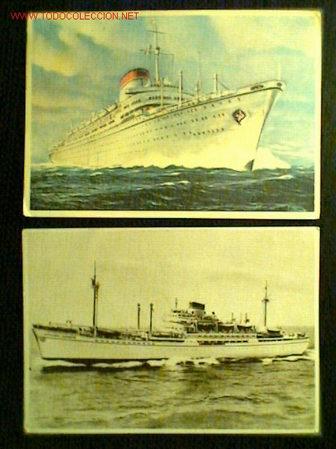 DOS POSTALES DE LA SOCIETÁ DI NAVIGAZIONE ITALIA, GENOVA. AÑOS 50 (Coleccionismo - Líneas de Navegación)