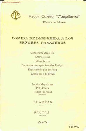 VAPOR CORREO MAGALLANES. COMIDA DE DESPEDIDA. AÑO 1950 (Coleccionismo - Líneas de Navegación)