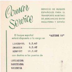Líneas de navegación: COMAR SERVICE, NANSEN S.A. BUQUE ASTENE11 - 1962. Lote 22175583