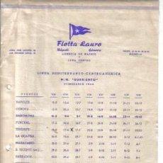 Líneas de navegación: ITINERARIO DE FLOTTA LAURO. Lote 25973203