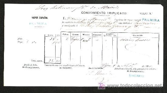 .CONOCIMIENTO DE EMBARQUE VAPOR ESPAÑOL -PALMIRA- DESTINO SANTANDER (Coleccionismo - Líneas de Navegación)