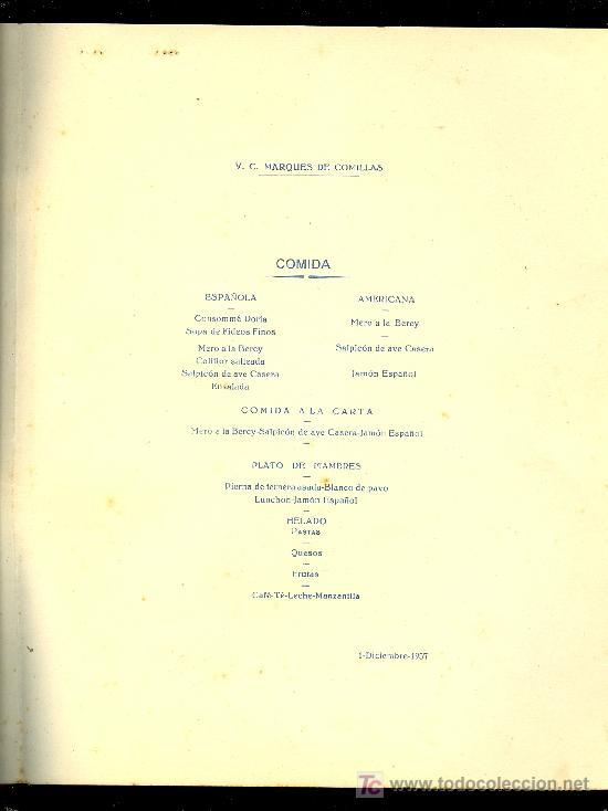 Líneas de navegación: MENÚ. V.C MARQUES DE COMILLAS. 1957. COMPAÑIA TRASATLANTICA ESPAÑOLA, S.A. - Foto 3 - 8702239