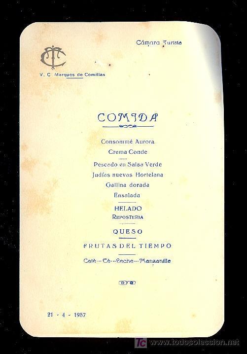 MENÚ. V.C MARQUES DE COMILLAS. 1957. COMPAÑIA TRASATLANTICA ESPAÑOLA, S.A. (Coleccionismo - Líneas de Navegación)