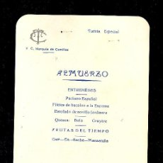 Líneas de navegación: MENÚ. V.C MARQUES DE COMILLAS. 1958. COMPAÑIA TRASATLANTICA ESPAÑOLA, S.A.. Lote 9079964