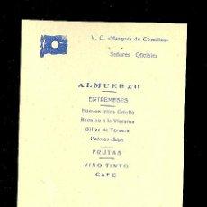 Linee di navigazione: MENÚ. V.C MARQUES DE COMILLAS. 1957. COMPAÑIA TRASATLANTICA ESPAÑOLA, S.A.. Lote 9079987