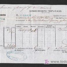 Líneas de navegación: .CONOCIMIENTO DE EMBARQUE VAPOR ESPAÑOL -SOFIA- DESTINO SANTANDER. Lote 10633827