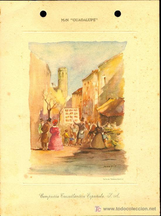 COMPAÑIA TRASATLANTICA ESPAÑOLA. MENU. GUADALUPE. AÑO 1954 (Coleccionismo - Líneas de Navegación)