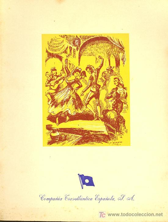 COMPAÑIA TRASATLANTICA ESPAÑOLA. MENU. MONTANAVE COVADONGA. AÑO 1960 (Coleccionismo - Líneas de Navegación)