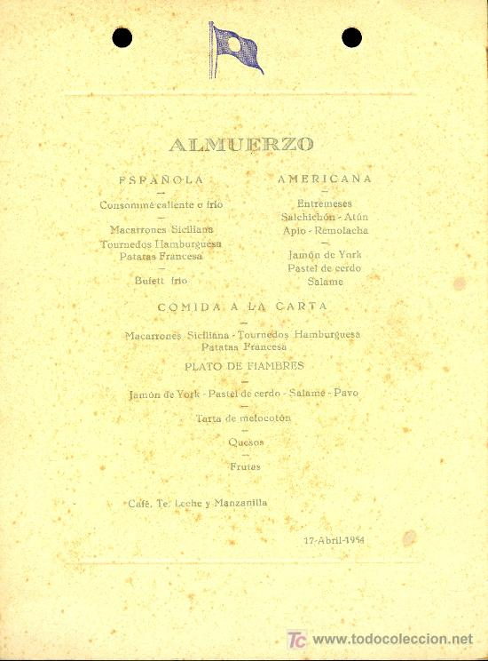 Líneas de navegación: COMPAÑIA TRASATLANTICA ESPAÑOLA. MENU. GUADALUPE. AÑO 1954 - Foto 2 - 10227474