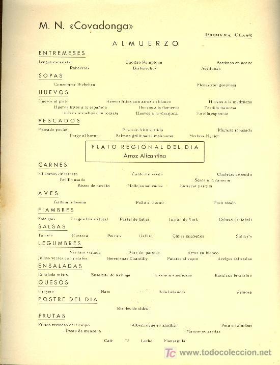 Líneas de navegación: COMPAÑIA TRASATLANTICA ESPAÑOLA. MENU. MONTANAVE COVADONGA. AÑO 1960 - Foto 2 - 10227527
