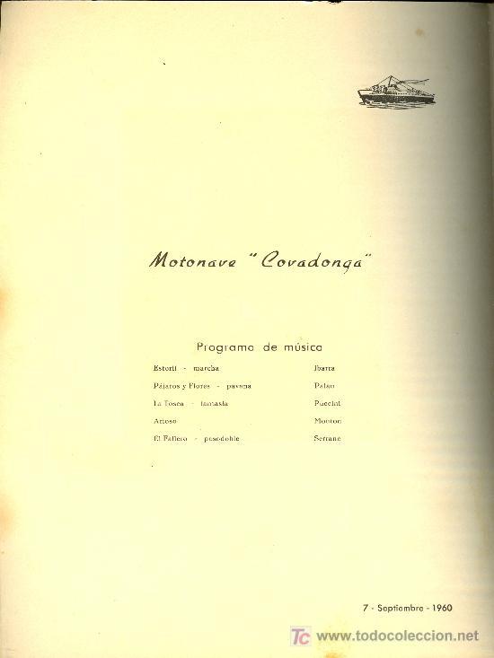 Líneas de navegación: COMPAÑIA TRASATLANTICA ESPAÑOLA. MENU. MONTANAVE COVADONGA. AÑO 1960 - Foto 2 - 21268084
