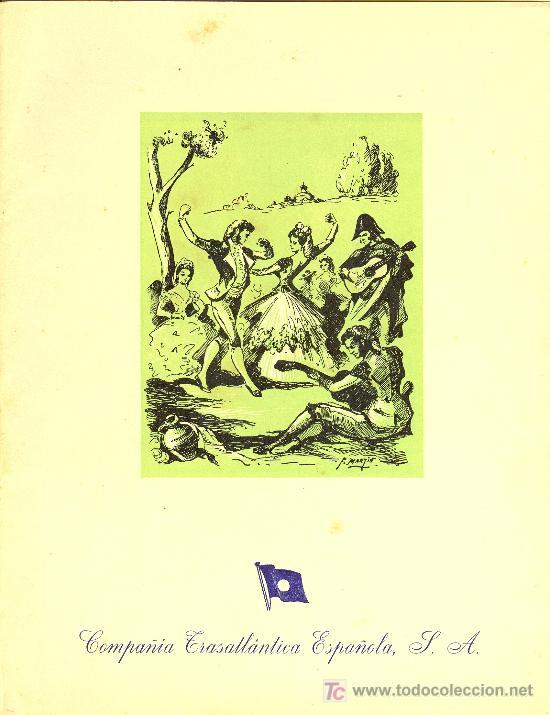 COMPAÑIA TRASATLANTICA ESPAÑOLA. MENU. MONTANAVE COVADONGA, AÑO 1960 (Coleccionismo - Líneas de Navegación)