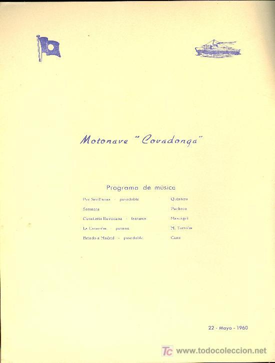 Líneas de navegación: COMPAÑIA TRASATLANTICA ESPAÑOLA. MENU. MONTANAVE COVADONGA, AÑO 1960 - Foto 2 - 21268086