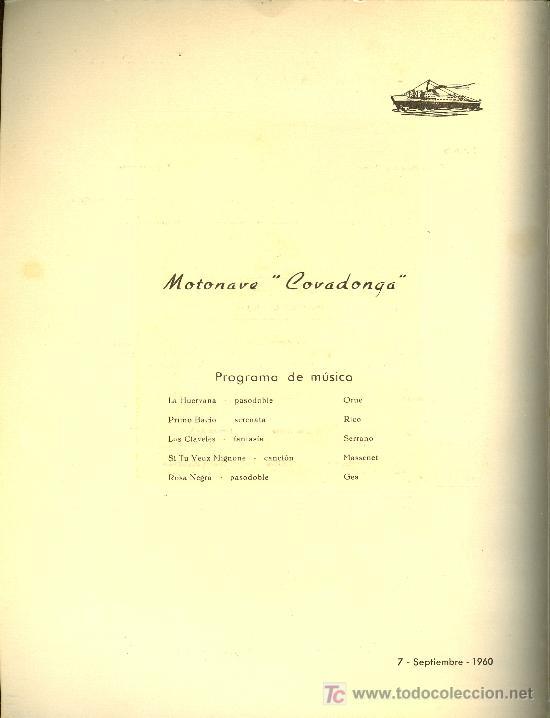 Líneas de navegación: COMPAÑIA TRASATLANTICA ESPAÑOLA. MENU. MONTANAVE COVADONGA, AÑO 1960 - Foto 2 - 10228059