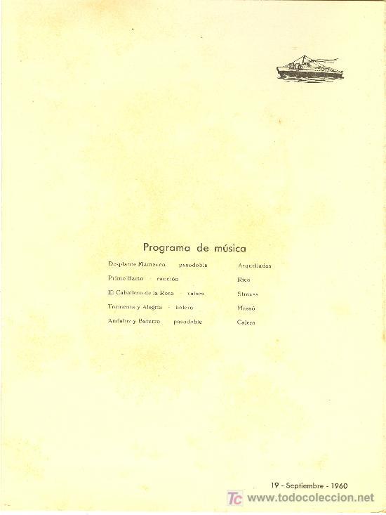 Líneas de navegación: COMPAÑIA TRASATLANTICA ESPAÑOLA.MENU.MONTANAVE COVADONGA. AÑO 1960 - Foto 2 - 10229594