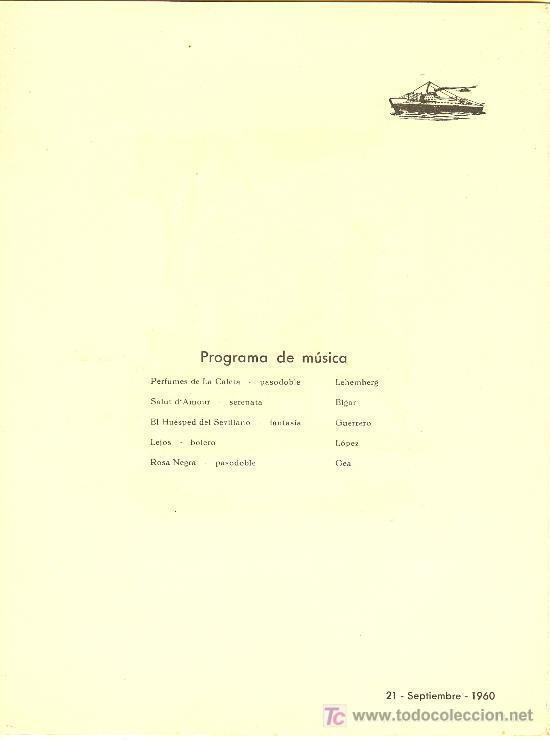 Líneas de navegación: COMPAÑIA TRASATLANTICA ESPAÑOLA.MENU.MONTANAVE COVADONGA. AÑO 1960 - Foto 2 - 10229909