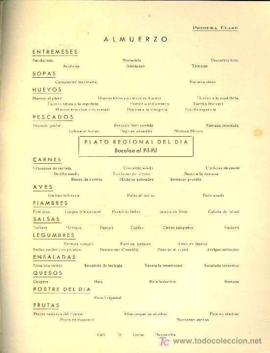Líneas de navegación: COMPAÑIA TRASATLANTICA ESPAÑOLA. MENU. MONTANAVE COVADONGA, AÑO 1960 - Foto 3 - 10228059