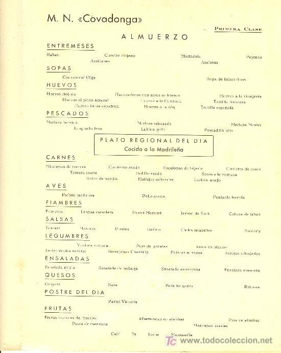 Líneas de navegación: COMPAÑIA TRASATLANTICA ESPAÑOLA. MENU. MONTANAVE COVADONGA, AÑO 1960 - Foto 3 - 10228821