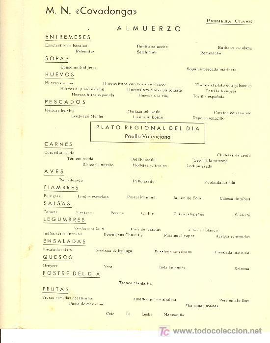 Líneas de navegación: COMPAÑIA TRASATLANTICA ESPAÑOLA. MENU. MONTANAVE COVADONGA, AÑO 1960 - Foto 3 - 10228827