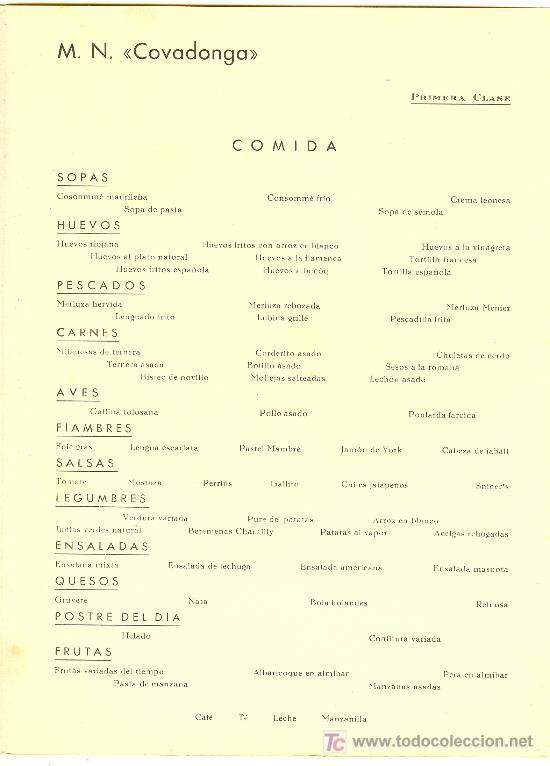 Líneas de navegación: COMPAÑIA TRASATLANTICA ESPAÑOLA. MENU. MONTANAVE COVADONGA, AÑO 1960 - Foto 3 - 10228830