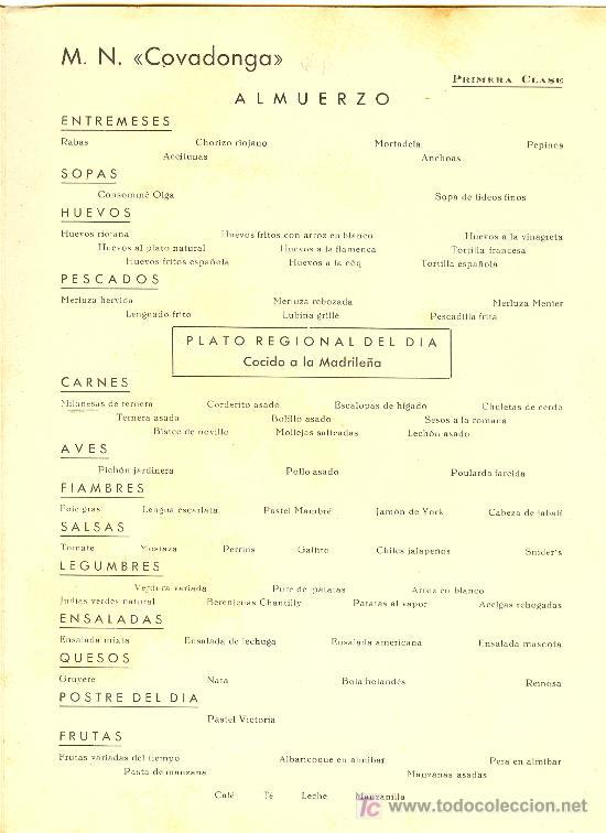 Líneas de navegación: COMPAÑIA TRASATLANTICA ESPAÑOLA.MENU.MONTANAVE COVADONGA. AÑO 1960 - Foto 3 - 10229583