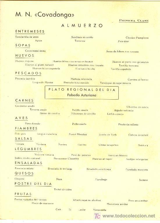 Líneas de navegación: COMPAÑIA TRASATLANTICA ESPAÑOLA.MENU.MONTANAVE COVADONGA. AÑO 1960 - Foto 3 - 10229594