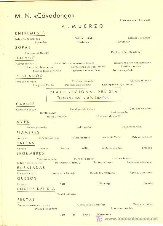 Líneas de navegación: COMPAÑIA TRASATLANTICA ESPAÑOLA.MENU.MONTANAVE COVADONGA. AÑO 1960 - Foto 3 - 10229909