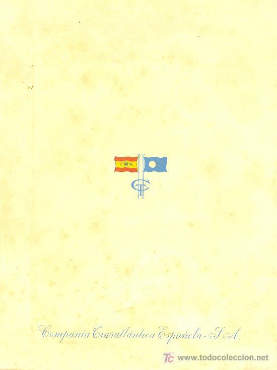 Líneas de navegación: COMPAÑIA TRASATLANTICA ESPAÑOLA. MENU. MONTANAVE COVADONGA, AÑO 1960 - Foto 4 - 10228821