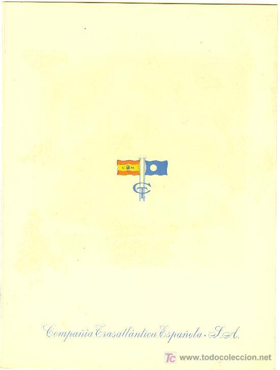 Líneas de navegación: COMPAÑIA TRASATLANTICA ESPAÑOLA. MENU. MONTANAVE COVADONGA, AÑO 1960 - Foto 4 - 10228827