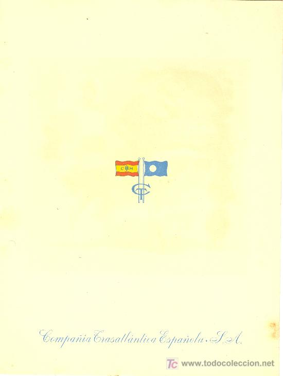 Líneas de navegación: COMPAÑIA TRASATLANTICA ESPAÑOLA. MENU. MONTANAVE COVADONGA, AÑO 1960 - Foto 4 - 10228830