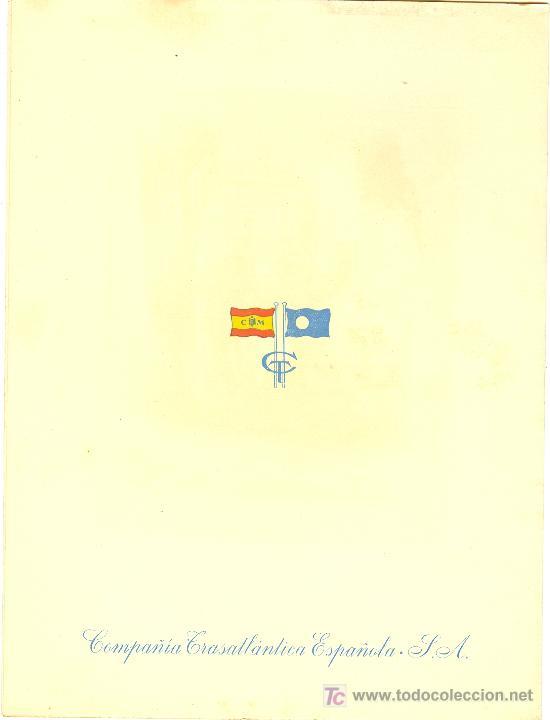 Líneas de navegación: COMPAÑIA TRASATLANTICA ESPAÑOLA.MENU.MONTANAVE COVADONGA. AÑO 1960 - Foto 4 - 10229583