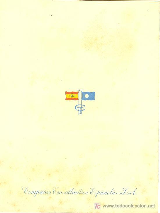 Líneas de navegación: COMPAÑIA TRASATLANTICA ESPAÑOLA.MENU.MONTANAVE COVADONGA. AÑO 1960 - Foto 4 - 10229594