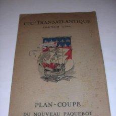 Líneas de navegación: CIE.GLE.TRANSATLANTIQUE FRENCH LINE PLAN-COUPE DU NOUVEAU PARQUEBOT PARIS,32X20 CM.DESPLEG.32X120 CM. Lote 10410216