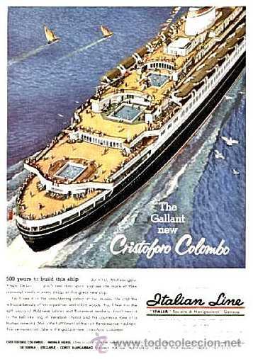 Líneas de navegación: Programa De Festejos Del Barco Cristoforo Colombo - acuarelista ALDO RAIMOINDI - Setiembre 1976 - Foto 2 - 27330514