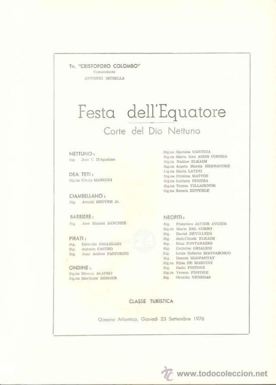 Líneas de navegación: Programa De Festejos Del Barco Cristoforo Colombo - acuarelista ALDO RAIMOINDI - Setiembre 1976 - Foto 6 - 27330514