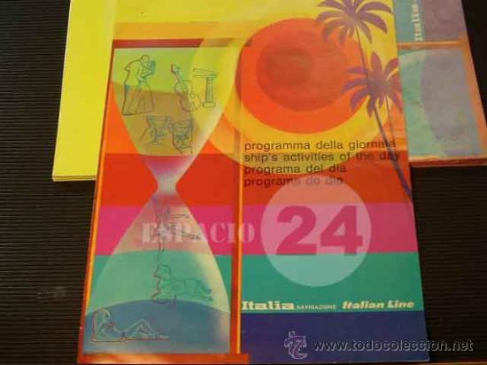 PROGRAMA DEL DIA 26 AGOSTO 1976 DEL BARCO CRISTOFORO COLOMBO. (Coleccionismo - Líneas de Navegación)