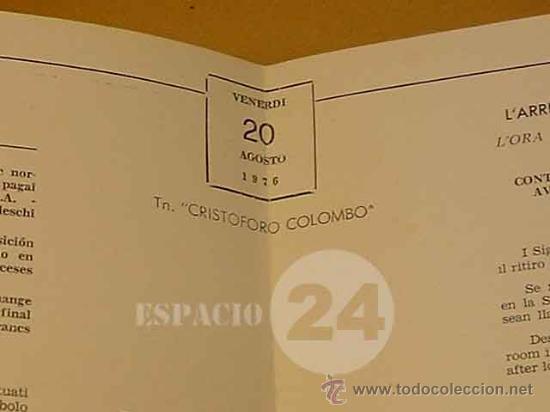 Líneas de navegación: Programa Del Dia 26 Agosto 1976 Del Barco Cristoforo Colombo. - Foto 6 - 27515169