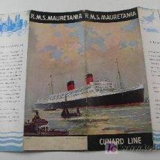 Líneas de navegación: R.M.S. MAURETANIA. CUNARD LINE, FOLLETO INDFORMATIVO.. Lote 12066252