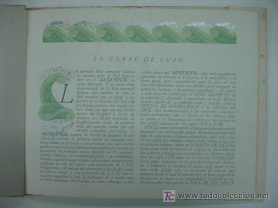 Líneas de navegación: CATÁLOGO DEL BUQUE AUGUSTUS, NAVIGAZIONE GENERALE ITALIANA. CON 11 LÁMINAS. 28 X 26 CM. 1927. - Foto 3 - 12980804