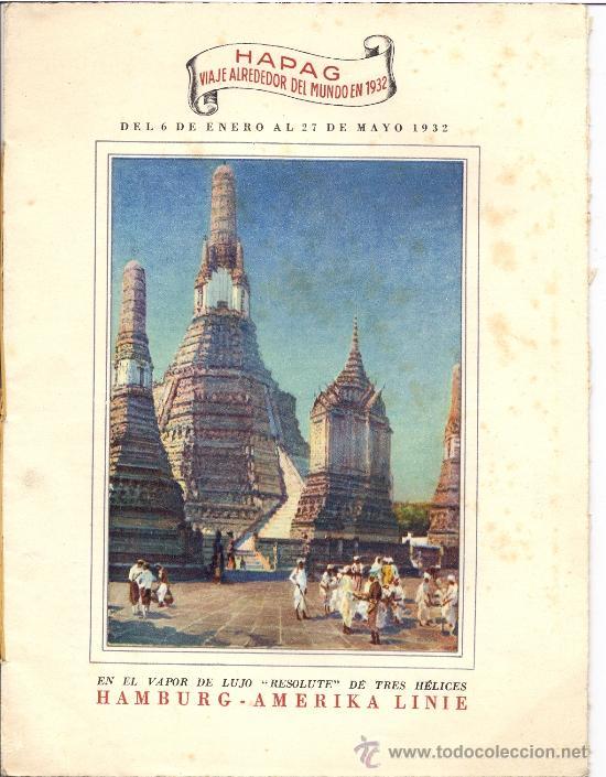 FOLLETO VUELTA AL MUNDO. VAPOR DE LUJO. AÑO 1932 (Coleccionismo - Líneas de Navegación)