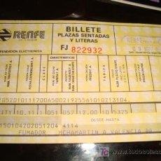 Líneas de navegación: BILLETE PLAZAS SENTADAS Y LITERAS, 1988 RENFE, FUMADOR M CHAMARTIN A VALENCIA,CON PUBLICIDAD FORTUNA. Lote 15335527